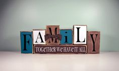 Items similar to Family -Together we have it all- Wood Block Decor Set on Etsy 2x4 Crafts, Wood Block Crafts, Pallet Crafts, Wooden Crafts, Primitive Crafts, Xmas Crafts, Small Wood Projects, Scrap Wood Projects, Craft Projects