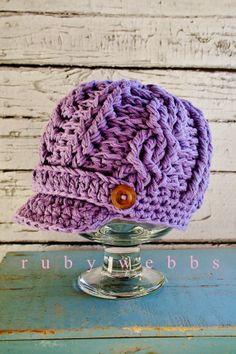 Girls Crochet Newsboy Hat Toddler Crochet Hat Cotton by rubywebbs