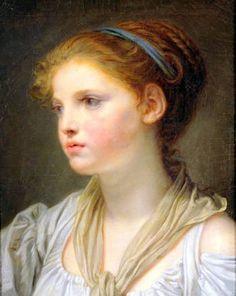 Portrait de jeune fille au ruban bleu-Jean Baptiste Greuze (1725 – 1805, French)