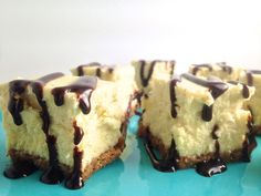 Cheesecake takes on new sophistication when you cut a couple slices into squares, then drizzle them with chocolate syrup, caramel, or fudge for a sweet finger food for these petit fours.