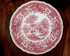 Villeroy & Boch Transferware  This listing is one very pretty vintage plate with mountainous scene and pretty floral border manufactured by
