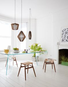 Dining room | White | Trio of pendant lights | Wood | Pale | Livingetc