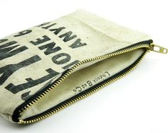 Recycled Canvas Pencil Case Lumber Apron Pouch Zipper by Lindock, $25.00