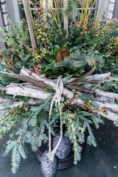 Christmas Planters, Christmas Door Decorations, Yellow Twig Dogwood, Boxwood Garland, Winter Planter, Lotus Pods, Christmas Post, Christmas Ideas, Magnolia Leaves