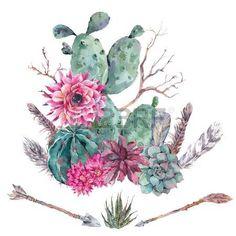 succulent: Exotischen natürlichen Weinlese-Aquarell Blumenstrauß in Boho-Stil. Kaktus, saftig, Blumen, Zweigen, Federn und Pfeile. Pflanzen isoliert Natur Kaktus Illustration auf weiß