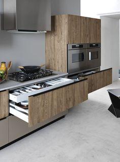 Cocina integral lineal de aglomerado ennoblecido ARIEL 05 by CESAR ARREDAMENTI   diseño Gian Vittorio Plazzogna