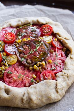 Caramelized Corn and Heirloom Tomato Galette w-Herbed Roasted Garlic Goat Cheese