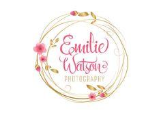 Custom logo design cherry blossom wreath logo pink gold