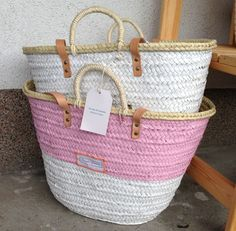 ♥ Twenty Violets ♥ IBIZA Korb Bast Strand Tasche medium weiss pink