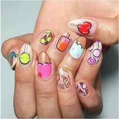 Crazed Candy Crazed - These Cartoon Nail Art Designs Are A Total Blast From The Past - PhotosCandy Crazed - These Cartoon Nail Art Designs Are A Total Blast From The Past - Photos Love Nails, Pretty Nails, My Nails, Nail Art Designs, Food Nail Art, Ice Cream Nails, Nailed It, Nails For Kids, Creative Nails