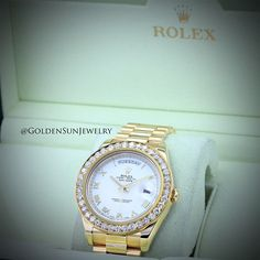 GOLDEN SUN JEWELRY: Rolex Day Date II President done the Golden Sun Jewelry way with a Russian Cut pave diamond bezel. @goldensunjewelry #goldensunjewelry #rolex #rollie #daydate #president #41mm #bigfacerollie #russiancut #diamonds #diamondwatch #goldwatch #gold #detroit #designer #fashionista #watch #pave #l4p #luxury #luxury4play #diamondjewelry #jewelry #jewelrygame #beautiful