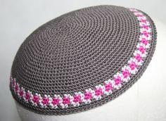 kippah grey with magenta and white border by crochetkippah on Etsy