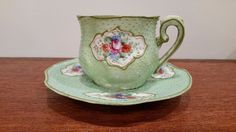 Nippon Hand Painted Moriage Egg Shell Porcelain Demitasse Tea Cup
