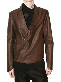 Damir doma Fitted Kimono Style Leather Jacket in Brown for Men | Lyst