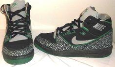 RETRO Nike Air Assault Black/Green Boy's Girls Basketball Shoes Sz 4.5 Y, 2007 #Nike #Athletic