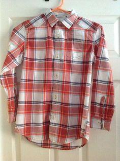 TUCKER + TATE Boys Red Plaid Cotton Long Sleeve Shirt Size 7X #TuckerTate #DressyEverydayHoliday