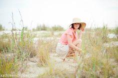 coral shirt, threadcase, style shoot, fashion, knit shorts, photoshoot concepts, senior poses, sunhat, beach, dunes