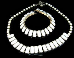 Milk Glass Necklace Bracelet Set White Chiclet by EclecticVintager