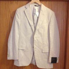 Banana Republic Khaki Tan 38R Modern Fit Cotton Linen Blazer Sport Coat Jacket