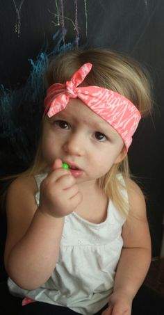 bright pink and white tribal print headband 6.99