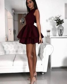 Fancy dresses short - ALine Jewel Short Burgundy Tiered Satin Homecoming Dress with Pleats CR 572 – Fancy dresses short Maroon Homecoming Dress, Mini Prom Dresses, Hoco Dresses, Pretty Dresses, Dress Outfits, Fashion Dresses, Formal Dresses, Champagne Homecoming Dresses, Graduation Dresses