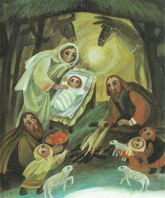 Štěpán Zavřel Christian Images, Christian Art, Grace Alone, Sola Scriptura, Christmas Bible, Egypt Art, Prayer Room, The Shepherd, Holy Family