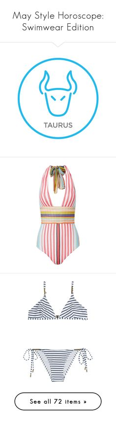 """May Style Horoscope: Swimwear Edition"" by polyvore-editorial ❤ liked on Polyvore featuring swimwear, Horoscope, backgrounds, filler, one-piece swimsuits, stripe, swim suits, halter top one piece swimsuit, striped one piece swimsuit and halter one piece swimsuit"