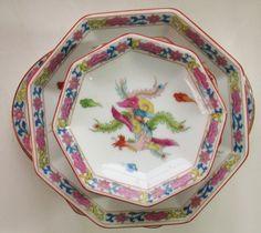 VTG Chinese Asian Porcelain Plate Set Phoenix Bird Waves Table Dinner Ware
