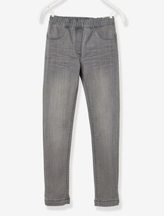Tregging fille stretch en denim Denim gris+Double stone - vertbaudet enfant