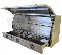Opening aluminium toolbox with 2 Drawers Below & 1 Adjustable Shelf Inside. Visit us today! Toolbox, Adjustable Shelving, Drawers, Shelf, Amp, Outdoor Decor, Home Decor, Motorcycles, Tool Box
