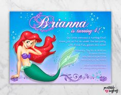 Ariel Invitation For Birthday Party The By PrintableWishes Wording Little Mermaid