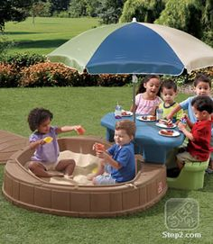 The Step2 Naturally Playful Summertime Play Center™ is now in new colors! Enhance sensory and social skills as children dig up some sand in the sandbox and eat snacks together at the picnic table. #toddler #picnic #sandbox