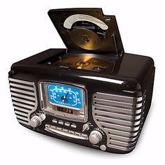 Digital Clocks and Clock Radios: Crosley Radio Corsair Retro Alarm Digital Clock Am / Fm Radio W/ Cd Player - New BUY IT NOW ONLY: $79.99