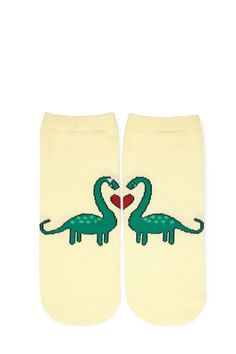 A pair of knit ankle socks featuring a dinosaur with a split heart graphic and ribbed trim.