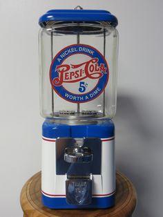 Pepsi Themed Vintage Acorn Gumball Machine