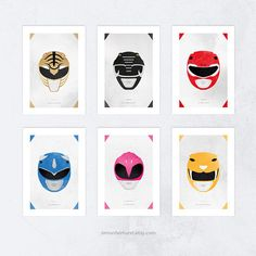 Listing includes all 6 pieces as one set. Printed using high quality inks, on A3+, 210gsm, matte photo paper, giving you vivid and vibrant colours that accentuates the designs. - - Inspired art by Simon Fairhurst. After watching the latest re-boot of the Power Ranger franchise, i