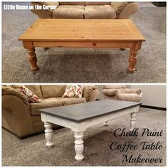 Chalk Paint Coffee Table Makeover 2019 Coffee Table Chalk Paint Makeover @ Little House on the Corner The post Chalk Paint Coffee Table Makeover 2019 appeared first on Furniture ideas. Refurbished Furniture, Repurposed Furniture, Furniture Makeover, Dresser Makeovers, Chair Makeover, Furniture Projects, Home Furniture, Diy Projects, Furniture Stores