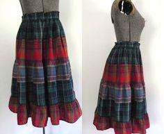 Vintage Madras Plaid Prairie Skirt Tiered by rileybellavintage, $24.00