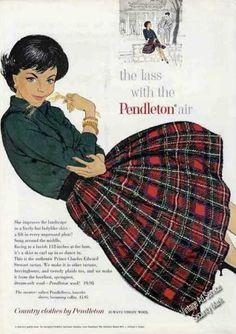 2c6c9c164 50s red black plaid pleated skirt sweater green vintage pendleton ad |  Vintage Clothes/ Fashion