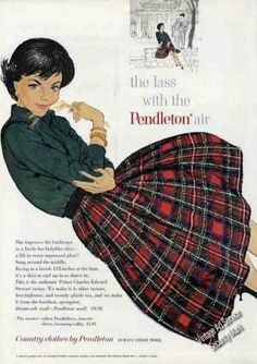 50s red black plaid pleated skirt sweater green vintage pendleton ad | Vintage Clothes/ Fashion Ads of the 1960s (Page 30)