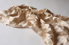 """""""Wooden Textiles"""", flexible wooden art installations by textile designer Elisa Strorzyk in her aim to provide wood with textile like properties."""