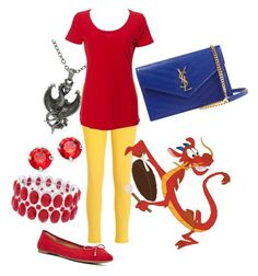 """""""Sidekicks: Mushu"""" by madalynkw ❤ liked on Polyvore featuring L. Erickson, Carolina Glamour Collection, Tommy Hilfiger, Nine West, Yves Saint Laurent and Liz Claiborne"""