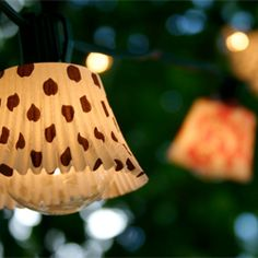 Make these adorable outdoor lights out of cupcake liners!
