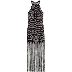 H&M Fringed halterneck dress (44 CAD) ❤ liked on Polyvore featuring dresses, h&m, black, zipper dress, halter-neck dresses, long fringe dress, pattern dress and print dresses