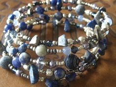 Beaded Memory Wire Bracelet Multi Strand Denim Blue and Silver Wrapped Bracelet