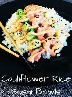 Cauliflower Rice Sushi Bowls are so healthy and delicious! Some may call this lazy sushi, but I just call it a genius way to enjoy sushi! Low Carb Recipes, Cooking Recipes, Healthy Recipes, Cooked Sushi Recipes, Cooking Tips, Clean Eating Snacks, Healthy Eating, Sushi Bowl, Sushi Sushi