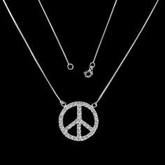 Gargantilha de Prata Símbolo da Paz com Zircônias.