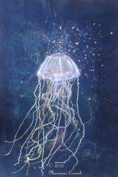 Jellyfish Wet Felted Textile Art by FineArtByMarianne on Etsy