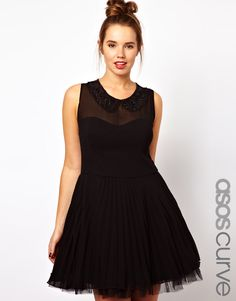 ASOS CURVE Pleated Dress with Embellished Collar precisely cut for women of size 20 to 26.