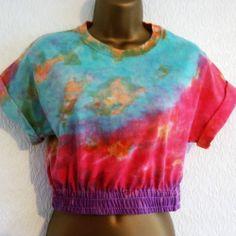 89973c454d New Tie Dye Crop Top 90s T-Shirt S Hipster Grunge Ibiza Urban Festival 6 8  10